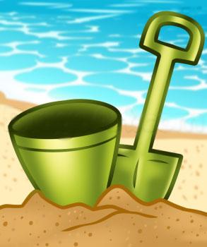 Как нарисовать лопату и ведро