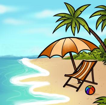 Как нарисовать пляж